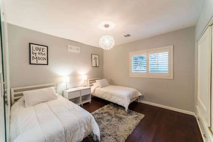 Gorgeous room with two twin beds and a nice shag area rug.