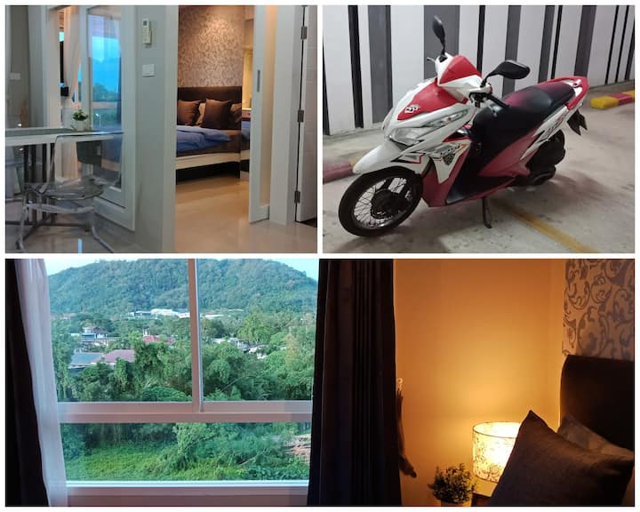 Mountain view condo free Wi-Fi and free motorbike