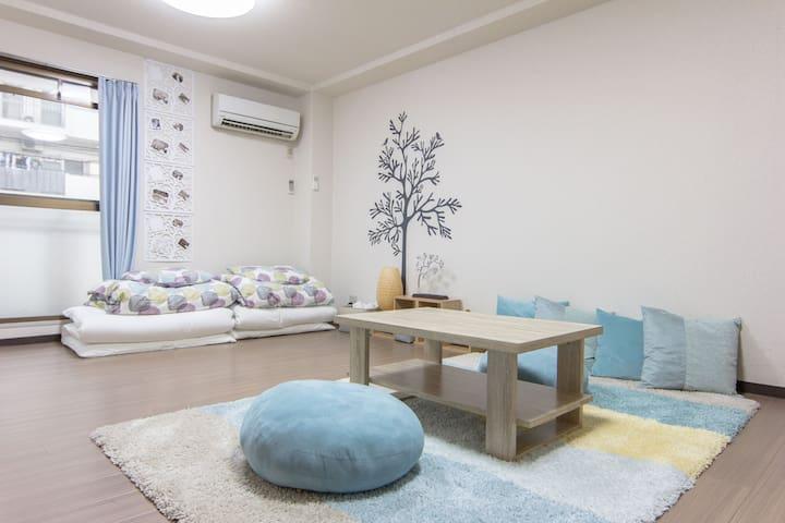 ★Blue cozy room in Shin Osaka★ 3 stations nearby - Yodogawa Ward, Osaka - Apartamento