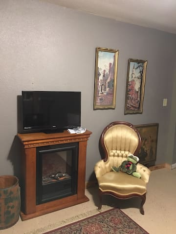 Electric Fireplace and TV with Satellite (internet service is also provided)