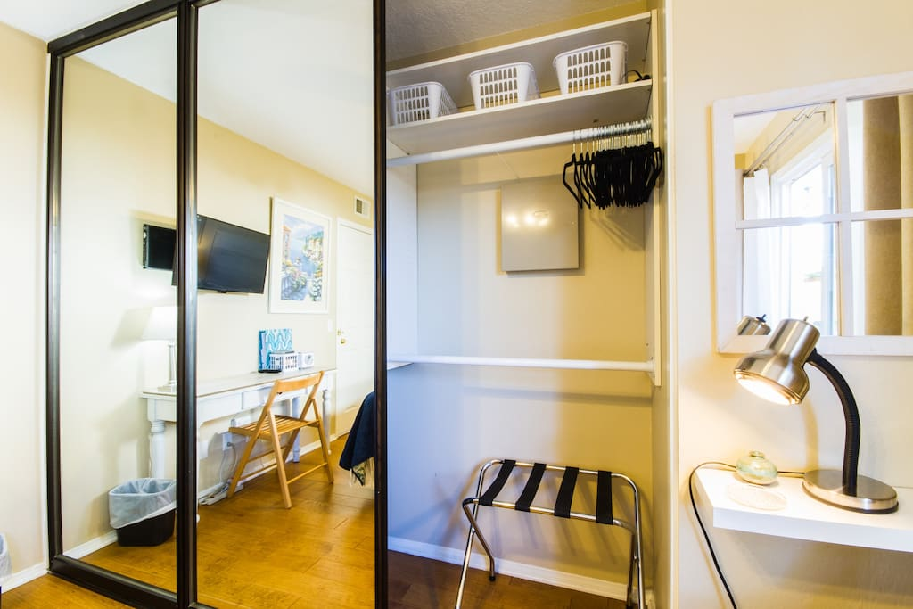 Lots of closet space is provided for hanging clothes and we also provide a luggage rack for your convenience.