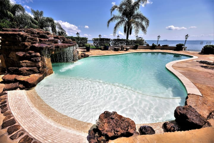 Waterfront Luxury Home with Tropical Oasis Pool.
