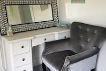 Desk area in bedroom's sitting room