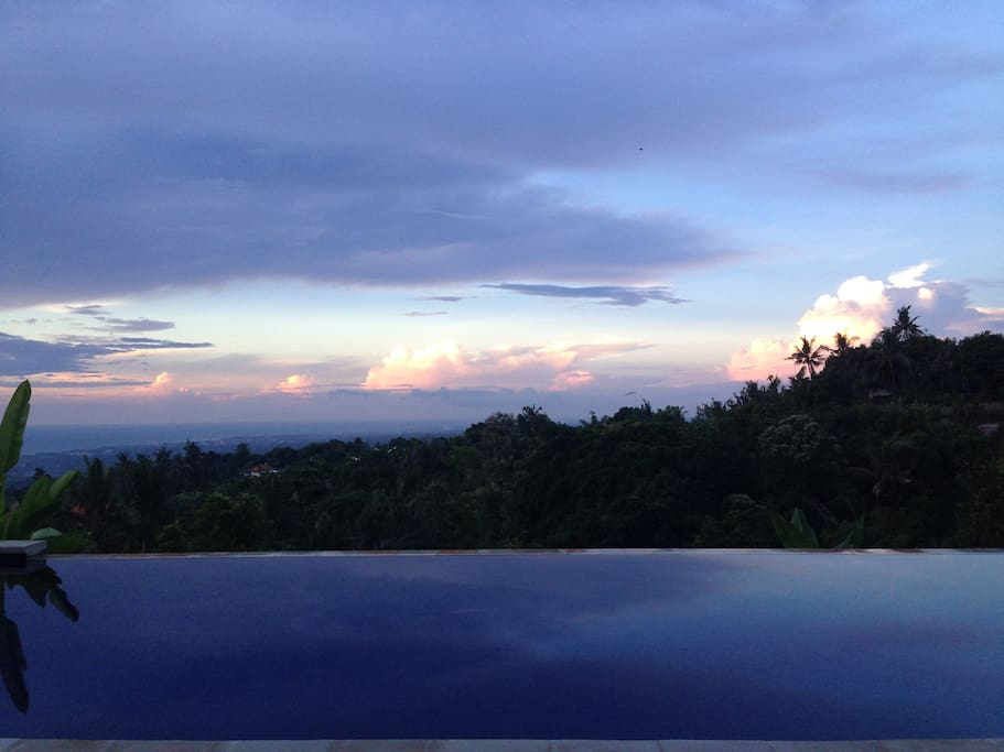 Sunset, looking across the Infinity Pool