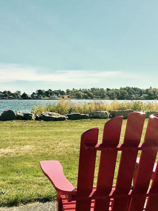 Relax in the adirondack chairs