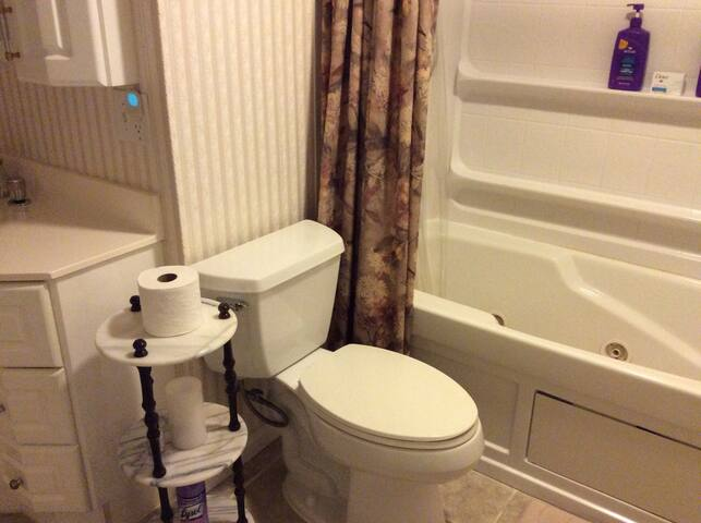 Guest bathroom with jacuzzi tub/ shower and taller toilet