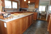 Recently remodeled kitchen where breakfast is served daily.