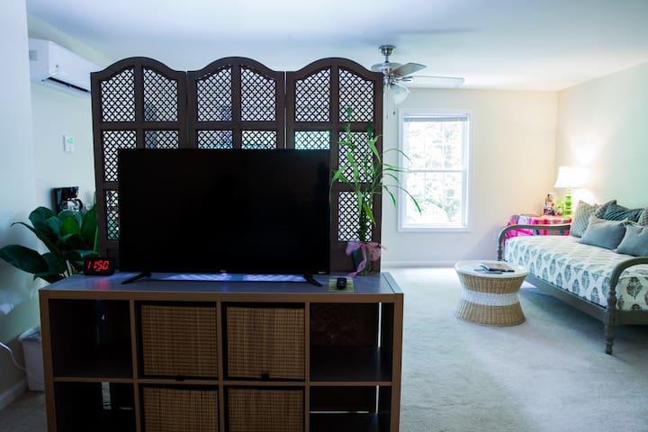 Riverside Hideaway: spacious garden level studio