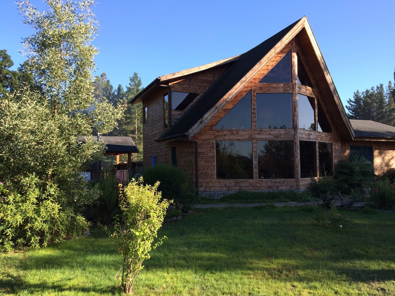Main House facing Tolten River with View of Volcan Villarrica