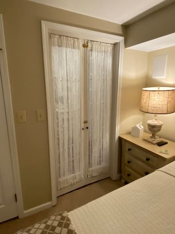 Inside the bedroom you will feel relaxed in the tan, cream, and white color palette that wrap you in comfort.
