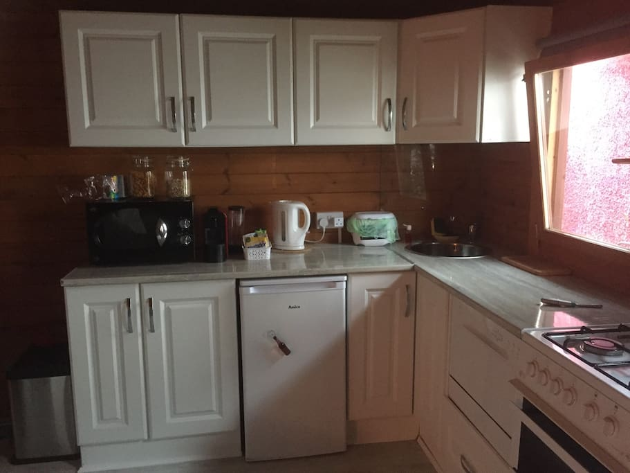Fully fitted kitchen with fridge dishwasher cooker microwave nespresso coffee machine