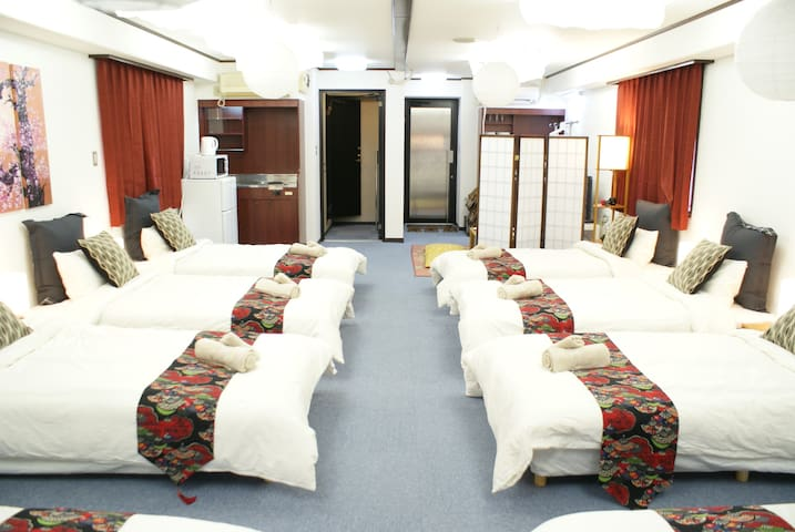 9 Beds for 12PAX at the side of Dotonbori Namba