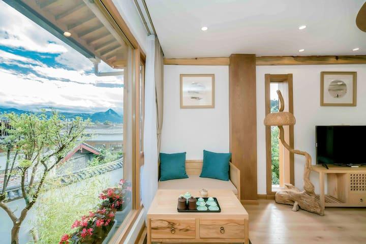 『禅意和风,诗意栖居』山语-180°端头超级景观圆床丨设计师民宿,日式装修房间通透有地暖,三晚接机。