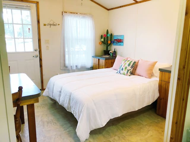 """""""This tiny house was a great place to stay while exploring the Frio River and Garner State Park! So clean and adorably decorated. We enjoyed sitting on the porch in the evenings and were able to bring food to cook our meals easily."""" Jackie"""