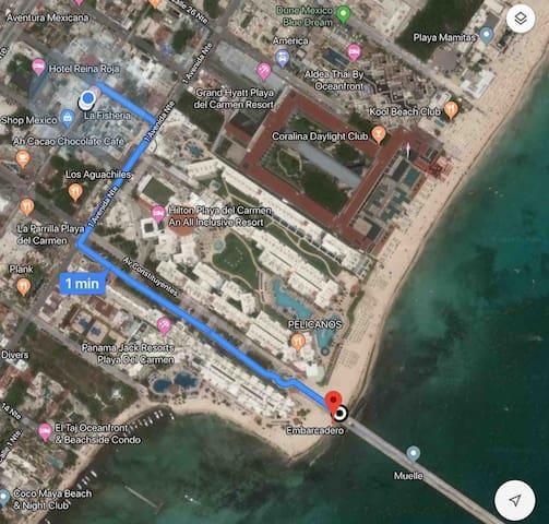 Ubicado sobre la quinta avenida a cinco minutos de la playa caminando