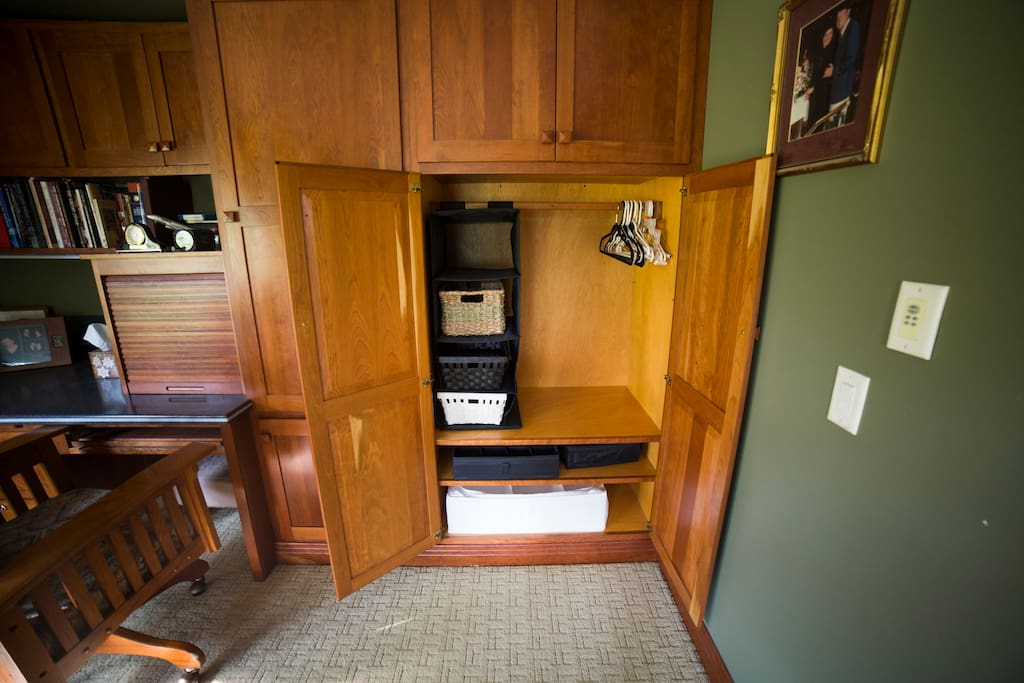 Small wardrobe for clothing storage and space for your hanging items.