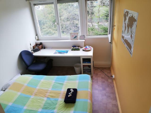 Chambre calme dans un appart lumineux et cosi