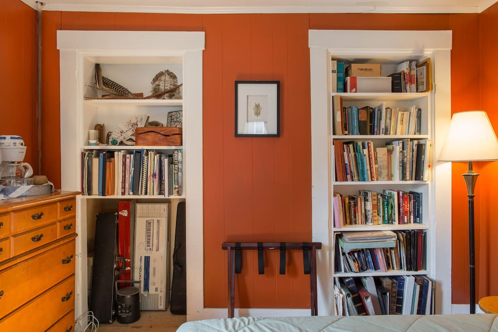Bookshelves stocked with eclectic non-fiction, graphic novels and literature to ensure sweet dreams