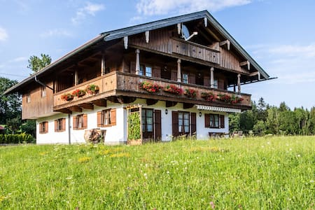 Bavarian Holiday Apartment with Mountain View, Wi-Fi, Wood Stove, Balcony & Garden