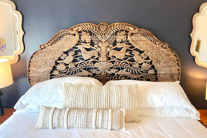 Gorgeous hand carved king headboard from Indonesia