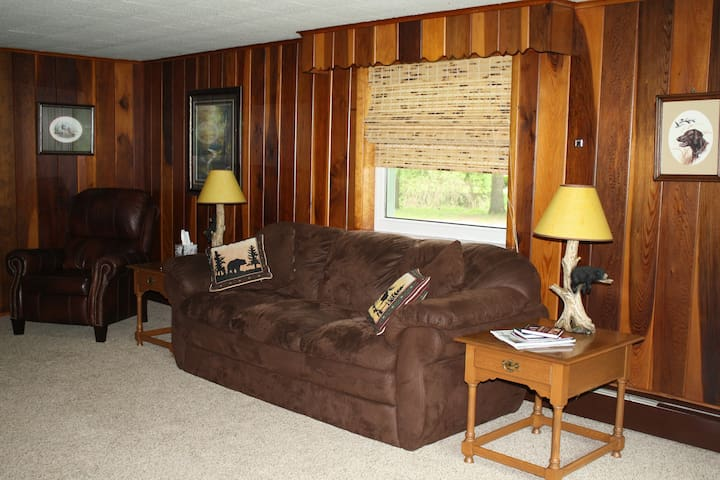 Nice size living room with 60 in. TV. Dish Network.