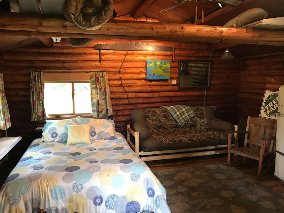 The interior of the cabin