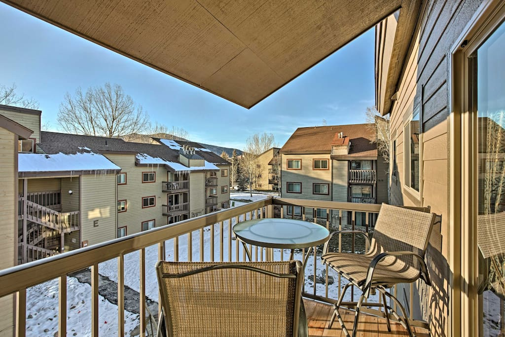 Relish the great outdoors from the private balcony that offers views of the mountains.