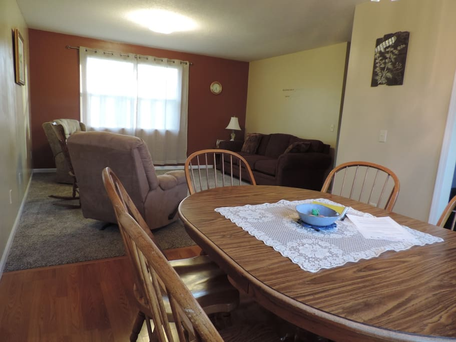 The dining room area is joined to the living room area for an open relaxing feel.
