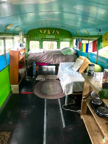 There's plenty of space for a couple or family on the bus!