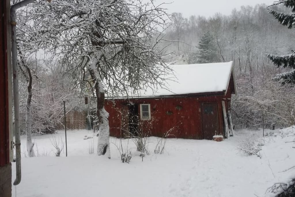 The barn in the snow.