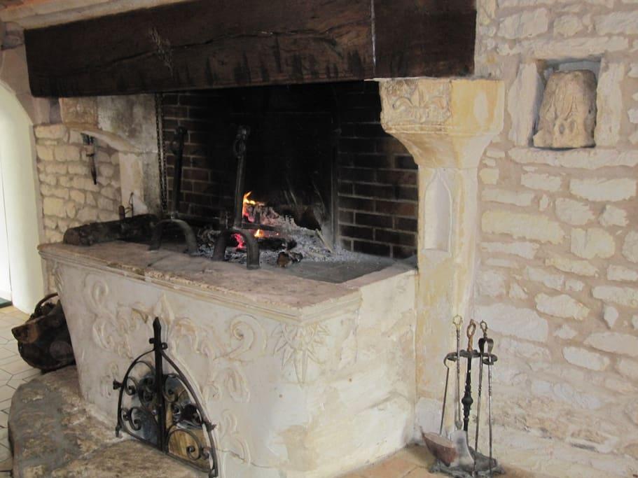 Feu de cheminée dans le salon