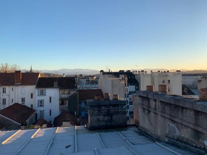 Charmant T4 centre ville vue château et Pyrenées
