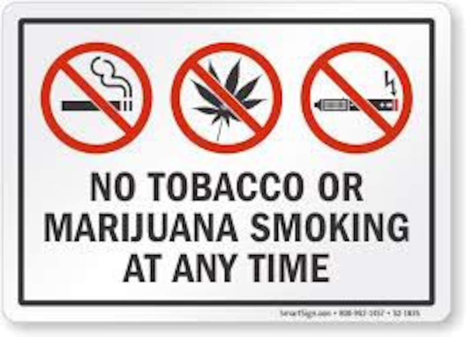 Drug free property.  You will be asked to leave if I smell marijuana.