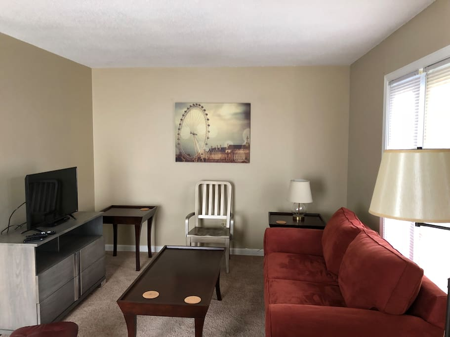 Living room is comfortable and cozy