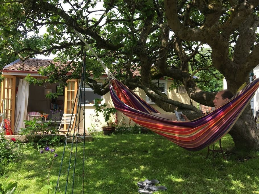 Relax in the hammock under the apple tree.