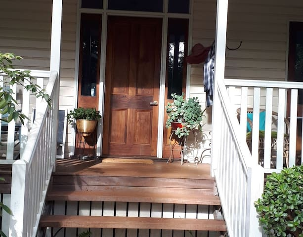 Entry to Tamborine Mountain Retreat House. Front bedroom also has private entry from verandah.