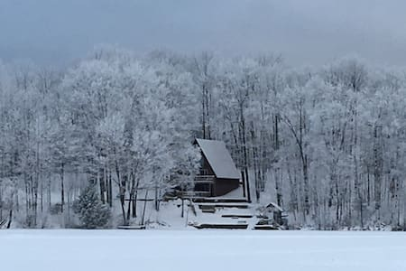 A-frame cabin on quiet lake