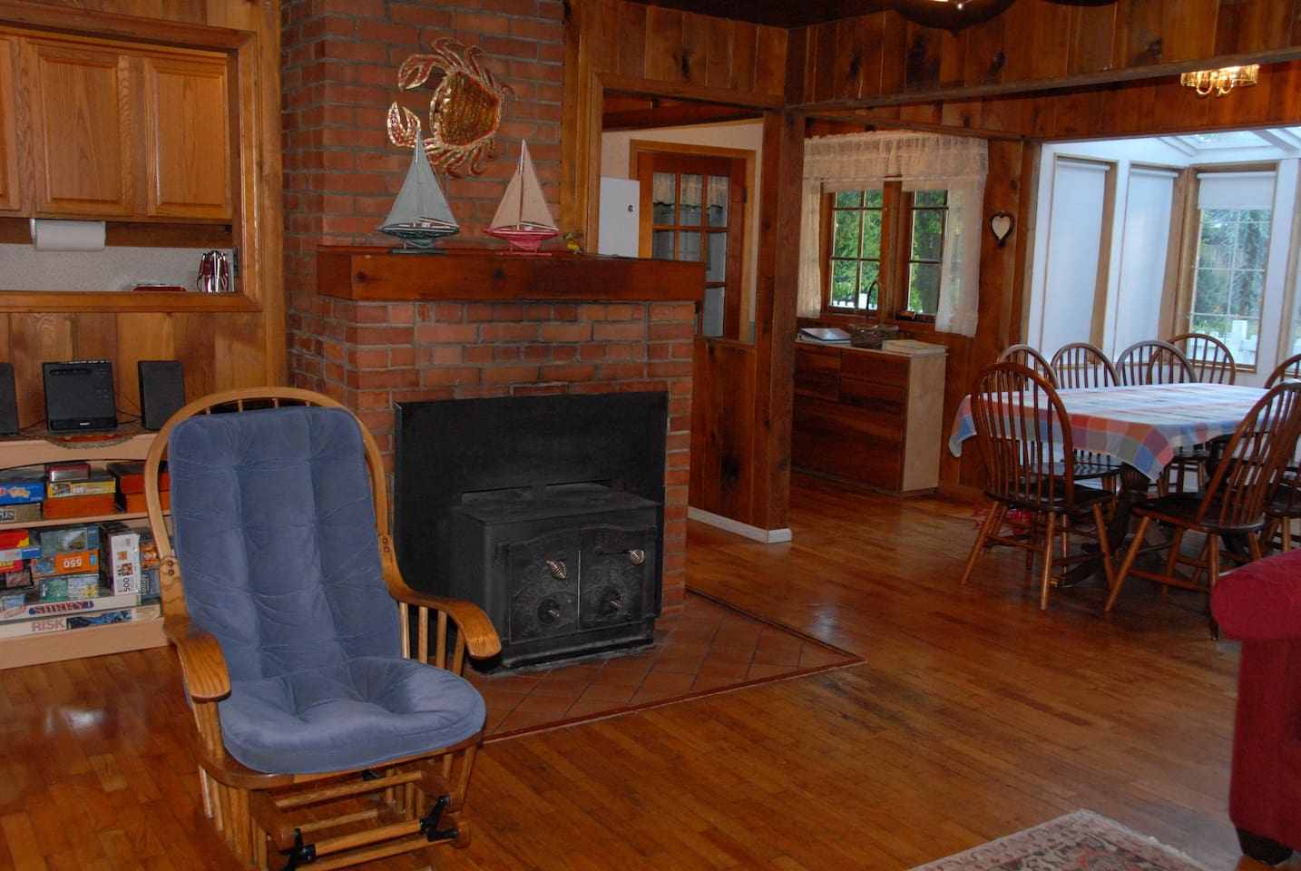 Living room, fireplace and dining!