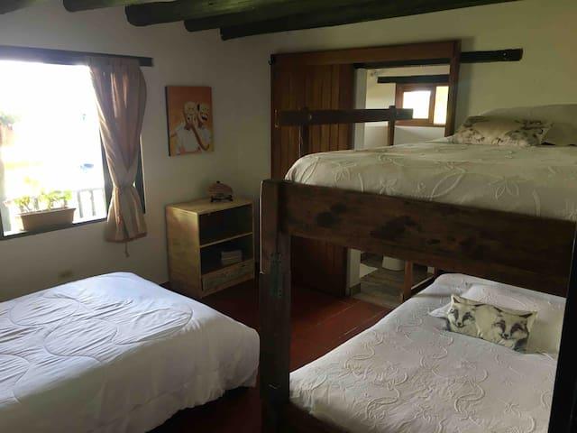 Habitación familiar con baño privado , cama semi doble y camarote semi doble