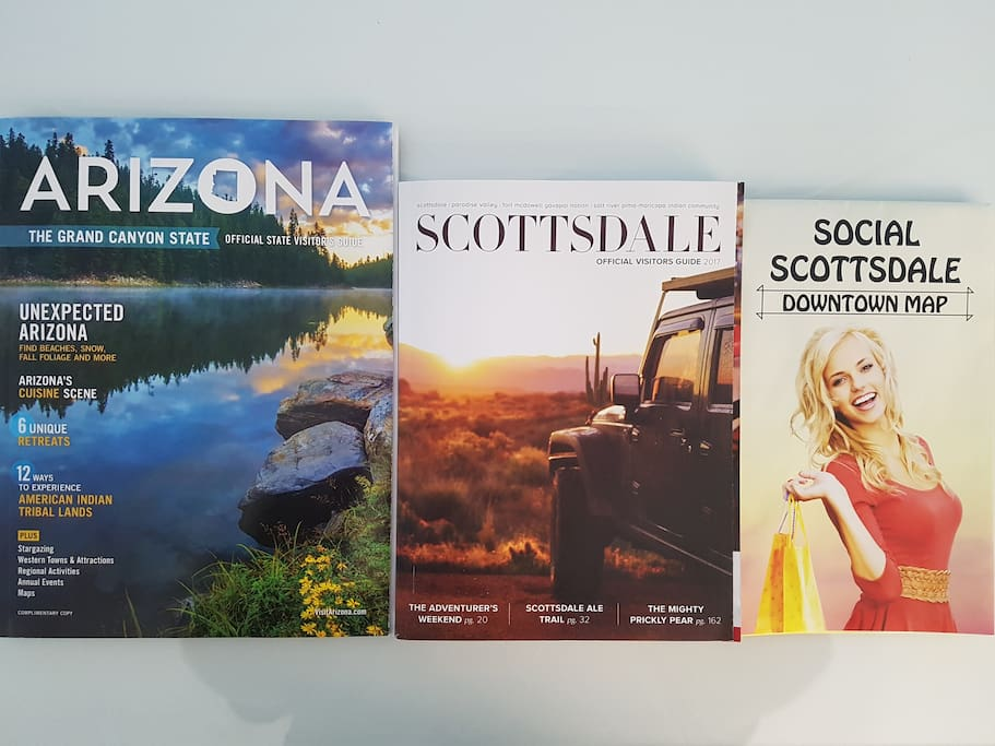 In your desk are local visitor guides, pamphlets, maps, discounts for popular attractions, and other goodies