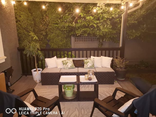 The perfect spot to enjoy your morning cup of tea, or evening glass of wine. There is also a large picnic  table for you to dine alfresco.  Most of the seating is put away during the colder/damper months, but a picnic table and bench will remain.