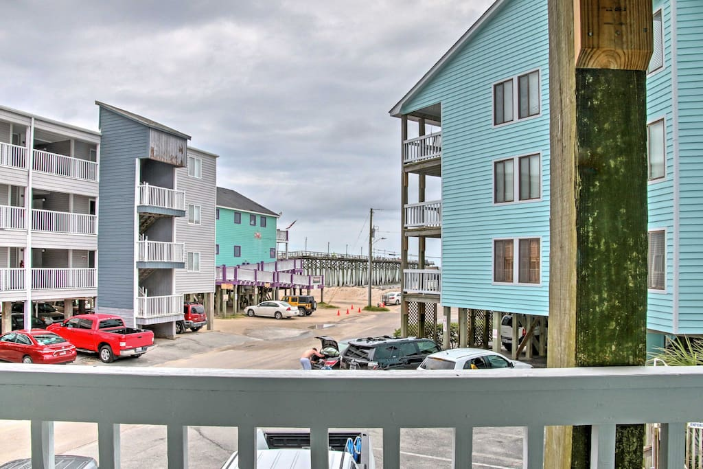 Enjoy the view of the pier and the Atlantic Ocean from your front deck.