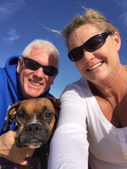 My husband Marty my dog Raven and me!