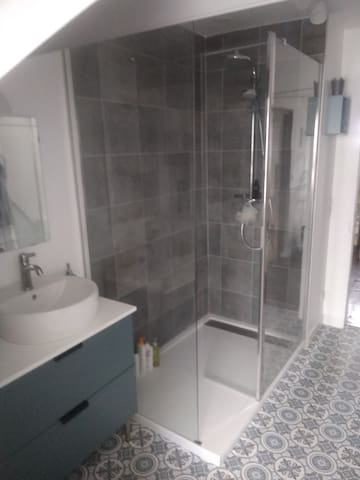 La salle de bain avec douche à l'italienne et meuble vasque (1 )