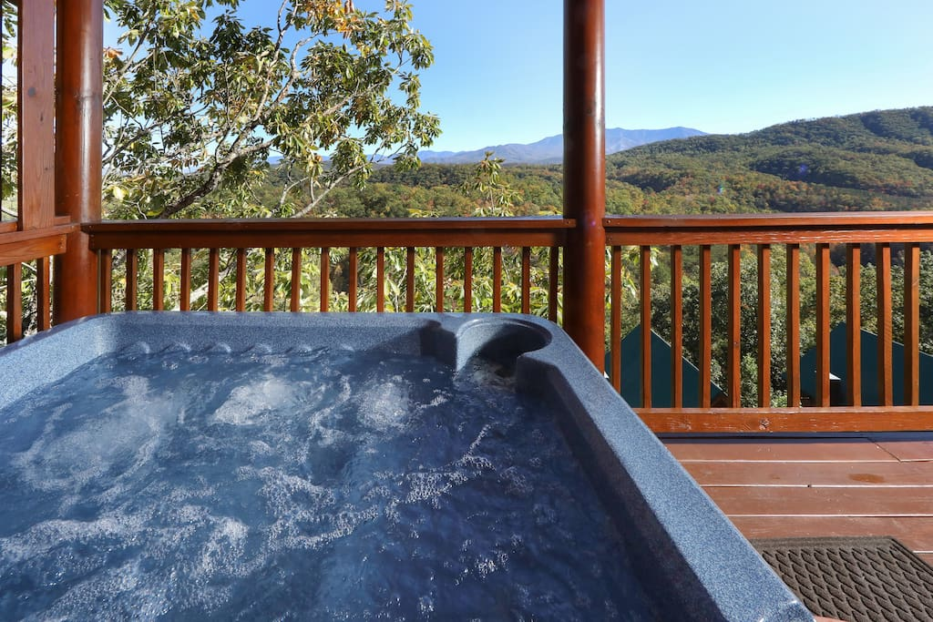 Slip into the hot tub on the deck and enjoy sweeping views.