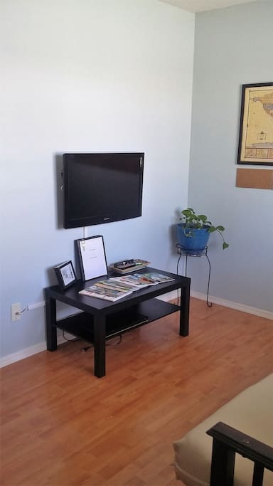 TV and DVD player, guest's information binder, and tourist information magazines and pamphlets