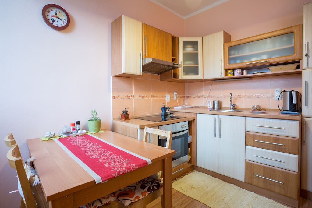 Fully furnished kitchen with stove top, oven, kettle, utensils and all you need for preparing your meals
