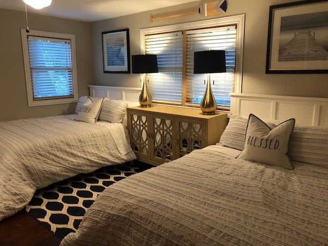 The second bedroom has two double beds with double closets to match.