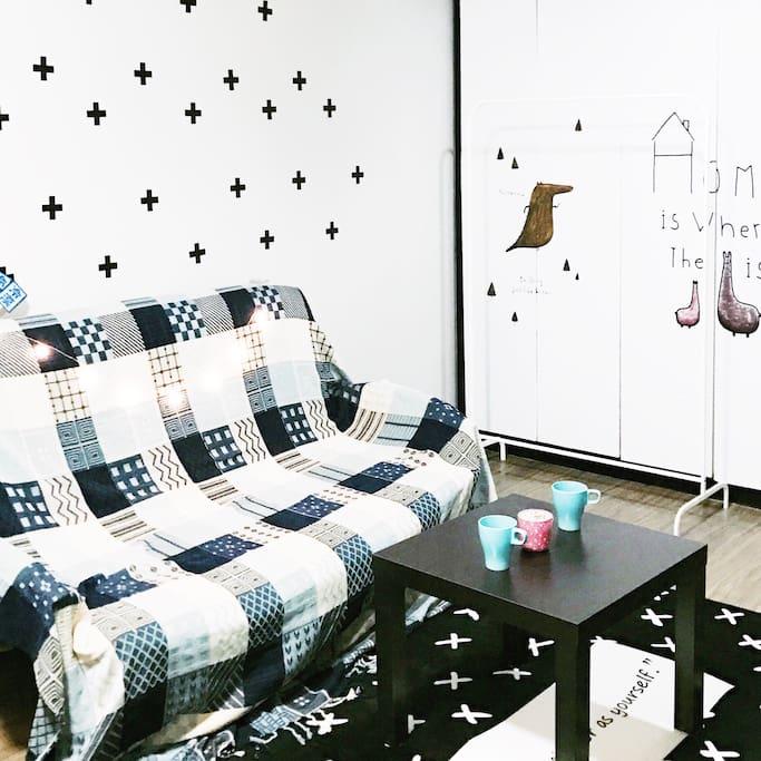 沙发与茶几,晾衣架