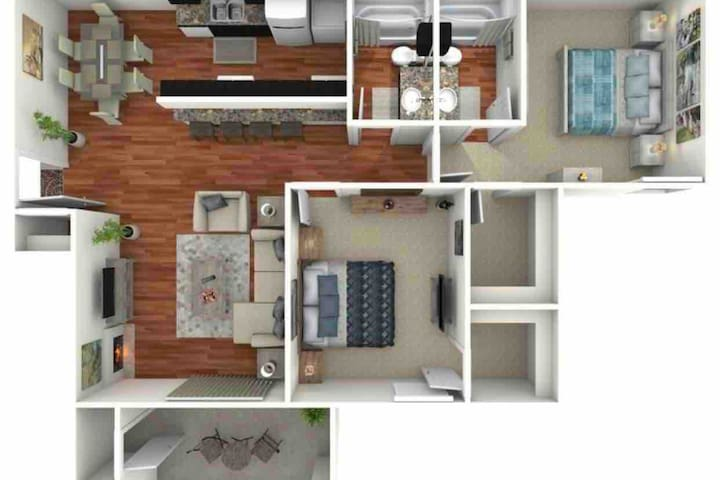 Entire apartment layout. You get access to everything pictured totally private. Includes patio that is smoker friendly